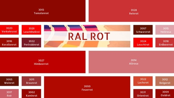 RAL Rot RAL Rottöne RAL Farbtabelle Farbe Rot
