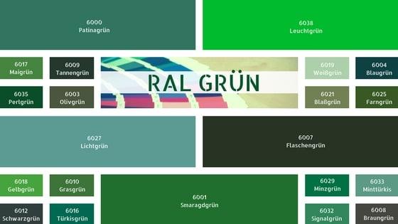 RAL Grün Farbkarte RAL Farben Grün RAL Grüntöne Wandfarbe Grün